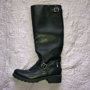 Target Heeled Black Boots with Buckles Size 9